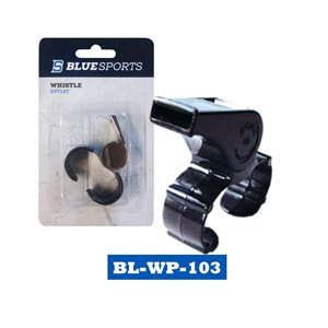 Sifflet Blue Sports en plastique avec attache pour doigt / Blue Sports plastic whistle with finger grip Petit / Small